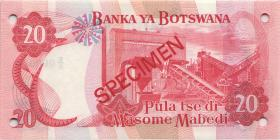 Botswana P.10s2 20 Pula (1982) Specimen E/5 000000 (1)