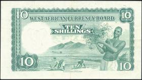 British West Africa P.09 10 Shillings 1958 (3+)