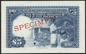 British West Africa P.11bs 100 Shillings 1954 Specimen (1)