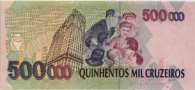 Brasilien / Brazil P.239 500 Reais auf 500.000 Cruz. (1993) (2)