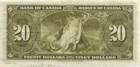 Canada P.062b 20 Dollars 1937 (3+)