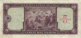 Chile P.130 5 Escudos auf 5000 Pesos (1960-61) (3)