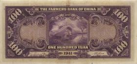 China P.477a 100 Yuan 1941 Farmers Bank (3+)