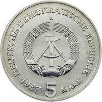 DDR 5 Mark 1987 Brandenburger Tor