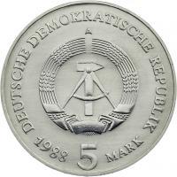 DDR 5 Mark 1988 Brandenburger Tor
