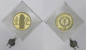 DDR 10 Mark 1985 40 Jahre Befreiung Goldprobe
