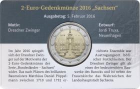 Deutschland 2 Euro 2016 Sachsen A Coincard