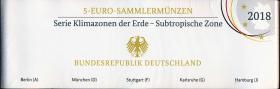 Deutschland 5 Euro 2018 Subtropische Zone PP kompletter Satz