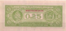Dom. Republik/Dominican Republic P.088s 25 Centavos Oro (1961) Specimen (1)