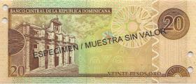 Dom. Republik/Dominican Republic P.169s3 20 Pesos Oro 2003 SPECIMEN (1)