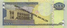 Dom. Republik/Dominican Republic P.181s 2000 Pesos Oro 2000 SPECIMEN (1)