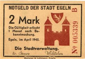 Notgeld Egeln (Provinz Sachsen) 1 - 20 Mark 1945 B (1)