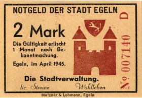Notgeld Egeln (Provinz Sachsen) 1 - 20 Mark 1945 D (1)