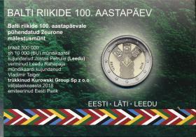 Estland 2 Euro 2018 (Baltische Gemeinschaftsausgabe) 100 Jahre Unabhängigkeit Coincard