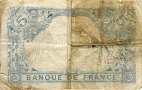 Frankreich / France P.070 5 Francs 1917 (4-)