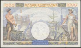 "Frankreich / France P.096a 1.000 Francs 28.11.1940 (1) ""2 Nadellöcher"""