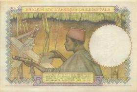 Franz. Westafrika / French West Africa P.26 5 Francs 2.3.1943 (1)
