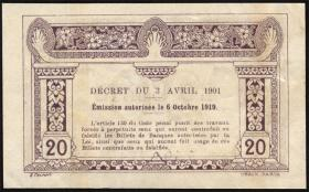 Franz. Indochina / French Indochina P.045a 20 Cents (1920-23) (2+)