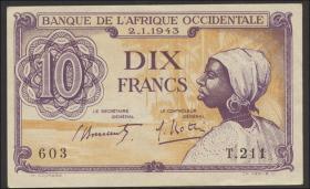 Franz. Westafrika / French West Africa P.29 10 Francs 1943 (2+)