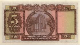 Hongkong, H & K Shanghai Bank P.181a 5 Dollars 1960 (1)