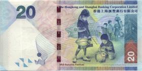 Hongkong, H & K Shanghai Bank P.212f 20 Dollars 2016 (1)