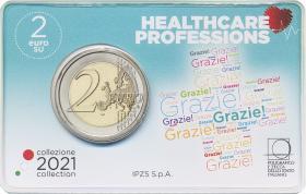Italien 2 Euro 2021 Grazie Gesundheitswesen Coincard