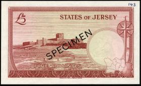 "Jersey P.09as 5 Pounds (1963) Specimen (1) ""schwarz"""
