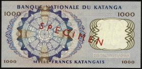 Katanga P.14s 1000 Francs 26.2.1962 Specimen (1)