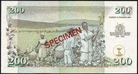 Kenia / Kenya P.46s 200 Shillings Gedenkbanknote 2003 Specimen (1)