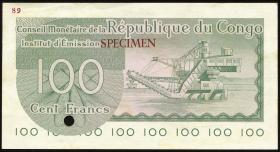Kongo / Congo P.001s 100 Francs 1.6.1963 Specimen (1/1-)