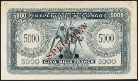 Belgisch-Kongo / Belgian Congo P.003s 5000 Francs 1963 Specimen (1-)