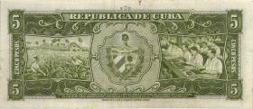 Kuba / Cuba P.091c 5 Pesos 1960 (3+)