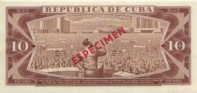 Kuba / Cuba P.104bs 10 Pesos 1978 Specimen (Especimen) (1)