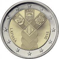 Lettland 2 Euro 2018 (Baltische Gemeinschaftsausgabe) 100 Jahre Unabhängigkeit Coincard