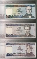 Litauen / Lithuania P.51 P.52 P.58A 100 + 500 + 1000 Litu 1991-94 (1)