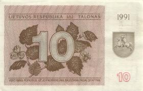 Litauen / Lithuania P.35b 10 (Talonas) 1991 (2)