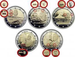 Luxemburg 5 x 2 Euro 2016-2018 Gedenkmünzen mit Mzz. Löwe & Brücke in PP