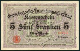 Luxemburg / Luxembourg P.23 5 Francs = 4 Mark 1914 (2)