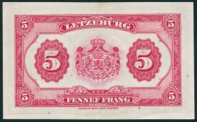 Luxemburg / Luxembourg P.43b 5 Francs (1944) (2+)