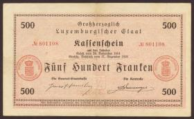 Luxemburg / Luxembourg P.33b 500 Franken 1918 (3+)