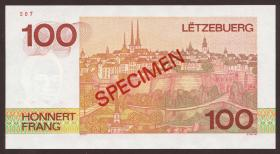 Luxemburg / Luxembourg P.58bs 100 Francs 1986 L Specimen (1)