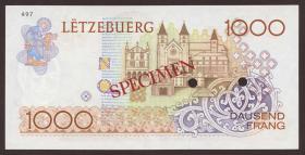 Luxemburg / Luxembourg P.59s2 1000 Francs (1985) Specimen (1)