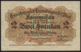 Luxemburg / Luxembourg P.22 2 Francs = 1 Mark 60 Pfennig 1914 (1)