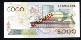 Luxemburg / Luxembourg P.60as 5000 Francs 1993 Specimen (1)