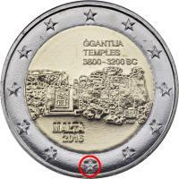 """Malta 2 Euro 2016 Ggantija Tempel mit Mzz. """"F"""""""