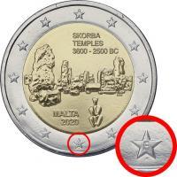 "Malta 2 Euro 2020 Skorba Tempel mit Mzz. ""F"" aus KMS"