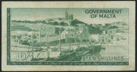 Malta P.25 10 Shillings (1963) (3-)