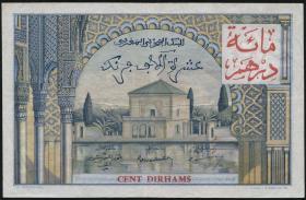 Marokko / Morocco P.52 100 Dirhams auf 10000 Francs o.J. (3)