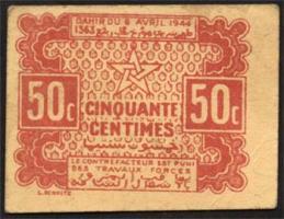Marokko / Morocco P.41 50 Centimes 1944 (1-)