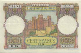 Marokko / Morocco P.45 100 Francs 1951 (2+)